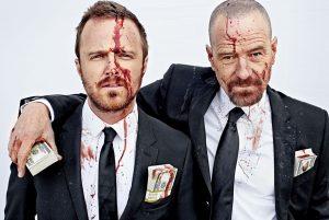 Les deux complices de Breaking Bad, Aaron Paul et Bryan Cranston © Alexei Hay pour EW