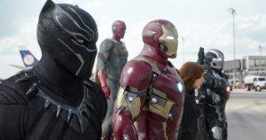 Black Panther/T'Challa (Chadwick Boseman), Vision (Paul Bettany), Iron Man/Tony Stark (Robert Downey Jr.), Black Widow/Natasha Romanoff (Scarlett Johansson), War Machine/James Rhodey (Don Cheadle)
